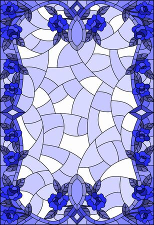 Illustration in stained glass style with a frame of  intertwined roses and leafs, tone blue