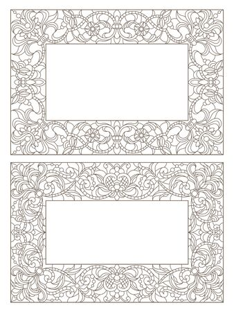 Set contour illustrations of stained glass with floral framework,dark outlines on white background