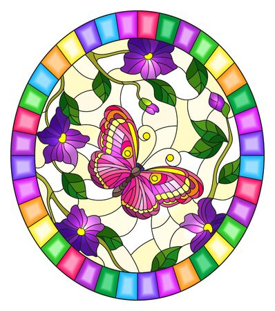 Illustration in stained glass style with a bright pink  butterfly on a background of purple flowers  , oval image in bright frame Çizim
