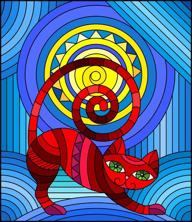 Illustration in stained glass style with abstract red  geometric cat on a blue  background with sun