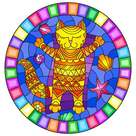 Illustration in stained glass style with a funny red  cat sunbathingon an inflatable mattress in the middle of the waves and  shells, oval image in bright frame