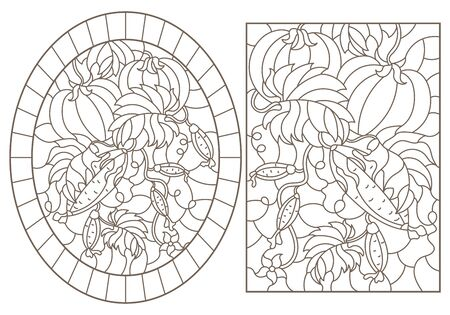 A set of contour illustrations of stained glass Windows with ripe tomatoes and cucumbers, dark contours on a white background