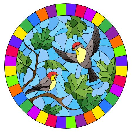 Illustration in stained glass style on the theme of autumn, two birds in the sky and maple leaves