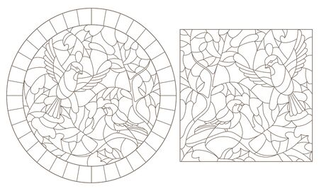 A set of contour illustrations of stained glass Windows with birds on a maple leaf background , dark contours on a white background