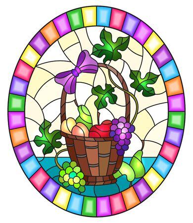 The illustration in stained glass style painting with a still life, fruit basket,  and fruits on a yellow background, oval image in bright frame