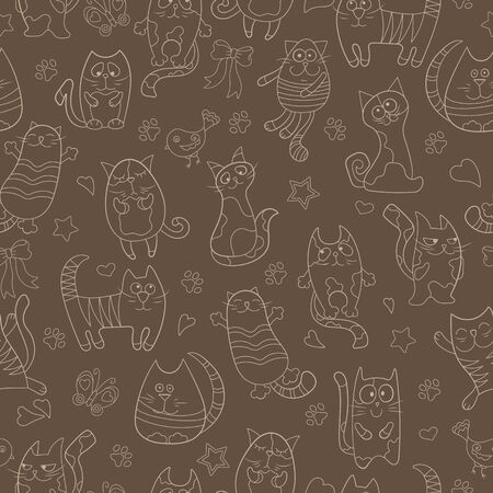Seamless pattern with contour images cartoon cats , beige contour on  brown background Çizim
