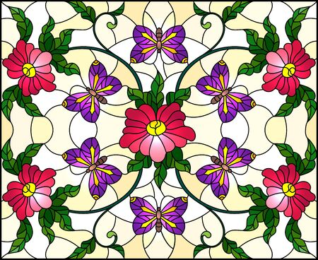 Illustration in stained glass style with abstract curly pink flower and a red butterfly on yellow background