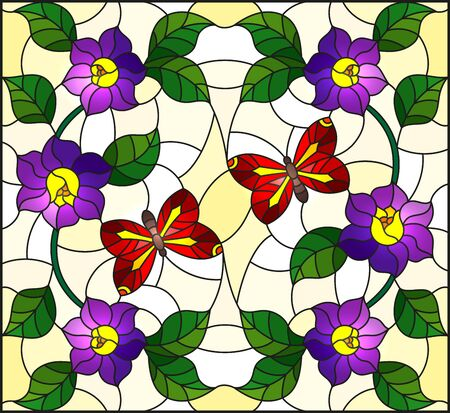 Illustration in stained glass style with abstract curly purple flower and a red butterfly on yellow background