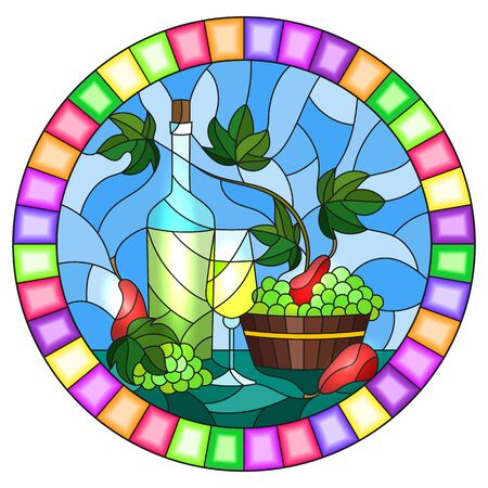 The illustration in stained glass style painting with a still life, a bottle of wine, glass and grapes on a blue background, round image in bright frame