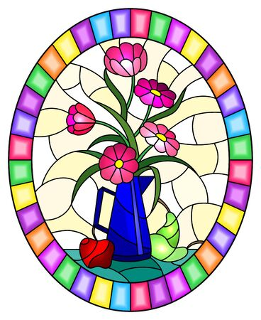 Illustration in stained glass style with bouquets of pink flowers in a blue jug, pears and apples on table on yellow background, oval image in bright frame
