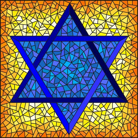 Illustration in stained glass style six-pointed star of David, blue star on a yellow background, square image