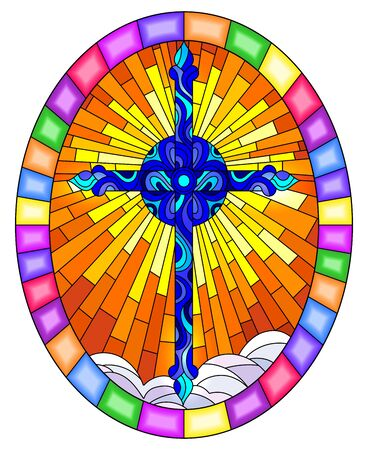Illustration in stained glass style with bright blue  cross on a background of orange sky and clouds, oval image in bright frame