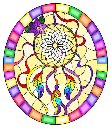 Illustration in stained glass style with dream catcher  on yellow background, oval image in bright frame