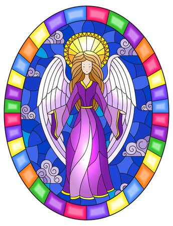 Illustration in stained glass style with girl angel in purple dress on background of sky and clouds, oval image in bright frame