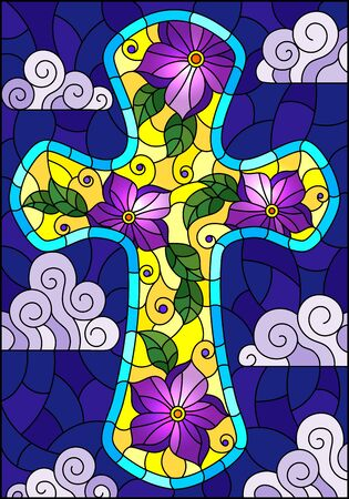Illustration in stained glass style with Christian cross decorated with purple flowers on blue sky background with clouds