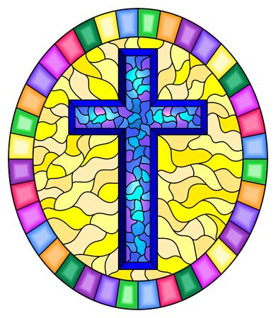 Illustration in stained glass style with a blue cross on an abstract yellow background, oval picture frame in bright