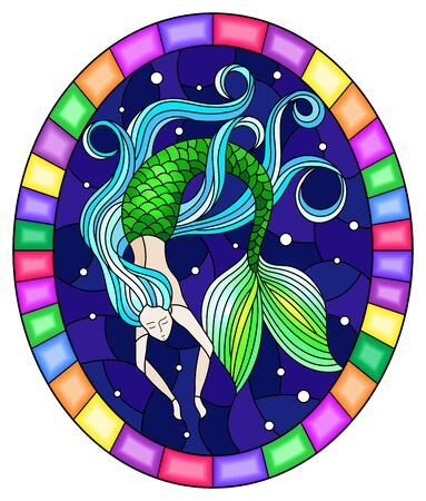 Illustration in stained glass style with mermaid with long  hair on water and air bubbles background, oval image in bright frame Çizim