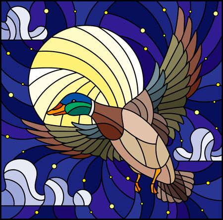 The illustration in stained glass style painting with a flying duck on the background of starry sky, moon and clouds