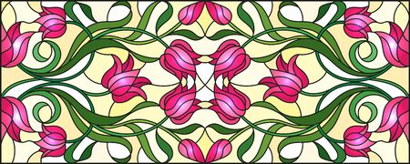 Illustration in stained glass style with abstract  swirls,flowers of pink Tulips and leaves  on a yellow background,horizontal orientation