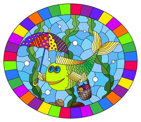 Illustration in stained glass style with cartoon funny fish under an umbrella on the background of the seabed and algae, oval image in bright frame