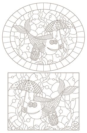 Set of contour illustrations of stained glass Windows with funny fishes  , dark contours on a white background Çizim