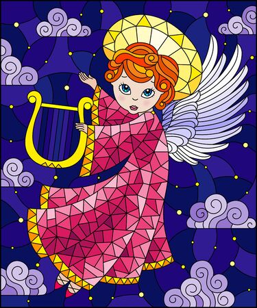 Illustration in stained glass style with cartoon  angel in pink robe playing the harp against the cloudy sky and stars Çizim