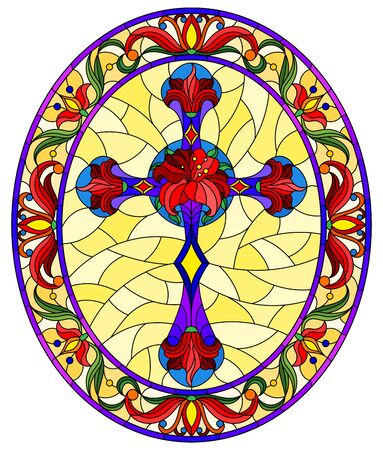 Illustration in stained glass style with Christian cross decorated with  red flowers on yellow background, oval image in floral frame