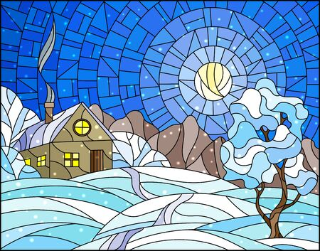 Illustration in stained glass style landscape with a lonely house amid snow,sun and sky Çizim