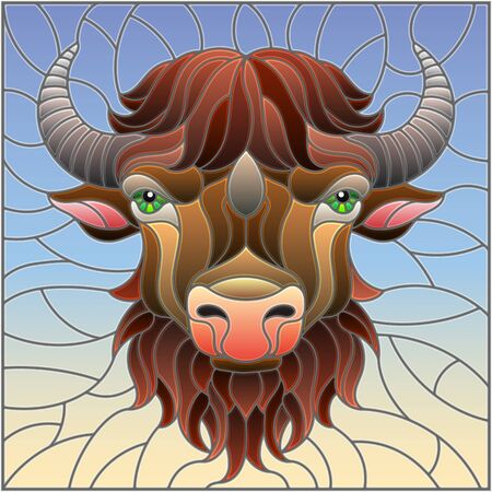 Illustration in stained glass style with bison head on sky background
