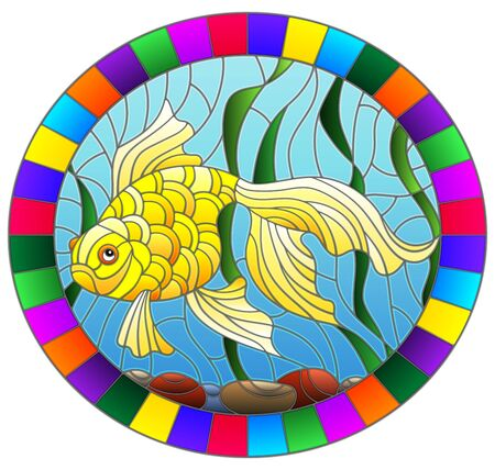 Illustration in stained glass style with bright gold fish on the background of water  , round image in bright frame