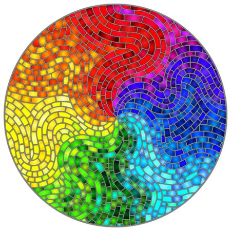 Abstract stained glass background , the colored elements arranged in rainbow spectrum,round image