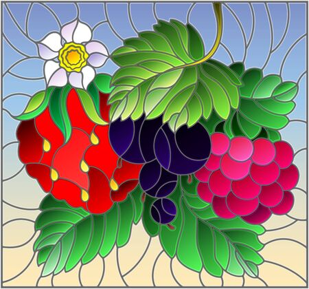 Illustration in stained glass style with ripe berries and leaves on a blue background