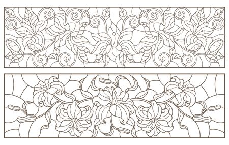 Set of contour stained glass illustrations with bouquets and lilies flowers, horizontal  oriented, dark outlines on white background