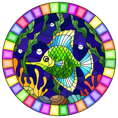 Illustration in stained glass style with a pair bright green  fish on the background of water and algae,oval picture in a bright frame