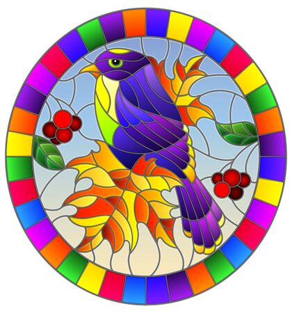 Illustration in the style of stained glass with a beautiful bright purple  bird  on a  background of branch of tree and sky,oval image in bright frame