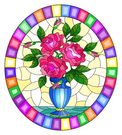 Illustration in stained glass style with floral still life,  bouquet of pink  roses in a blue vase on a yellow  background,oval image in bright frame