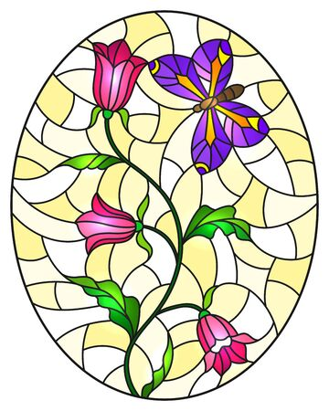 Illustration in stained glass style with abstract curly pink flowers and a purple butterfly on a yellow background , oval image