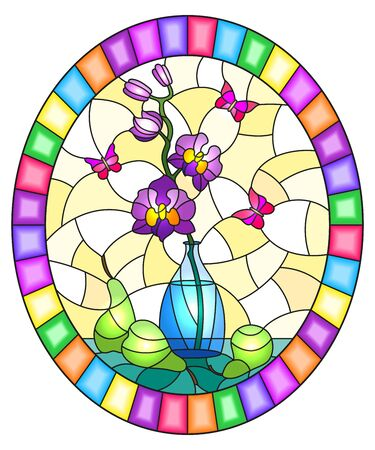 Illustration in stained glass style with bouquets of purple orchid   in a  vase,butterflies  and pears on table on yellow background, oval image in bright frame