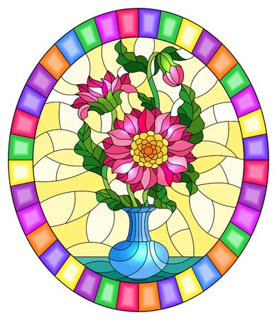 Illustration in stained glass style with floral still life, a bouquet of pink asters in a blue vase on a yellow background, oval image in a bright frame Illustration