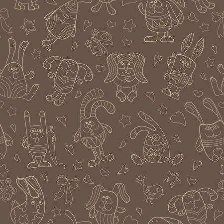 Seamless pattern with contour images of cartoon rabbits ,  beige outline on a brown background Çizim