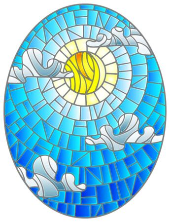 Illustration in stained glass style sun and clouds on blue sky background, oval image  Çizim