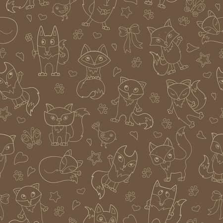 Seamless pattern with funny cartoon foxes, ,beige outline on a brown background Çizim