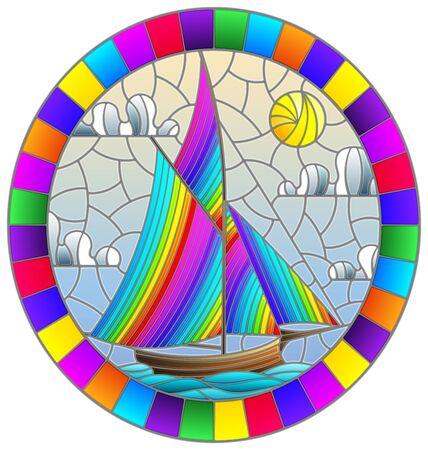 Illustration dans le style de vitrail avec un vieux bateau naviguant avec des voiles arc-en-ciel contre la mer et le soleil image ovale dans un cadre lumineux Vecteurs