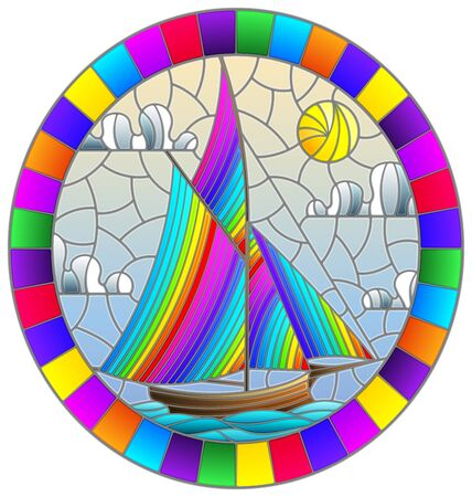 Illustration in stained glass style with an old ship sailing with rainbow sails against the sea and sun   oval image in a bright frame