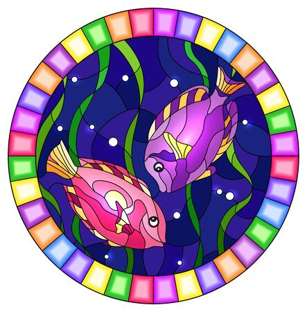 Illustration in stained glass style with a pair bright fishes on the background of water and algae,oval picture in a bright frame