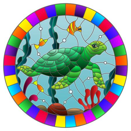Illustration in stained glass style with sea turtle on the seabed background with algae, fish and stones, oval image in bright frame Çizim