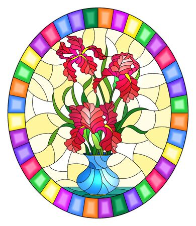 Illustration in stained glass style with floral still life,  bouquet of pink irises in a blue  vase on a yellow background,round image in bright frame
