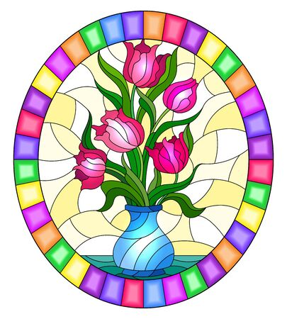 Illustration in stained glass style with floral still life,pink bouquet of Tulips in a blue vase on a yellow background, oval image in bright frame