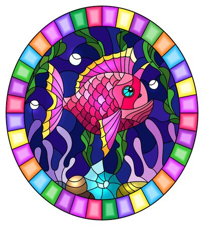 Illustration in stained glass style with a pair bright pink  fish on the background of water and algae,oval picture in a bright frame Иллюстрация