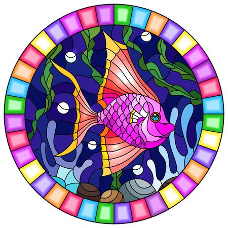 Illustration in stained glass style with a pair bright pink  fish on the background of water and algae,oval picture in a bright frame Çizim